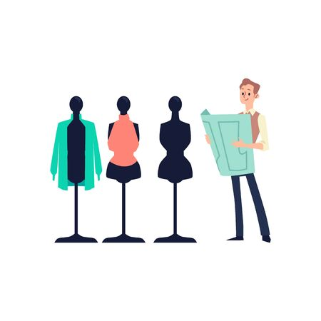 Tailor man standing by dummy mannequins looking at paper garment scheme isolated on white background - fashion designers sewing equipment. Flat vector illustration