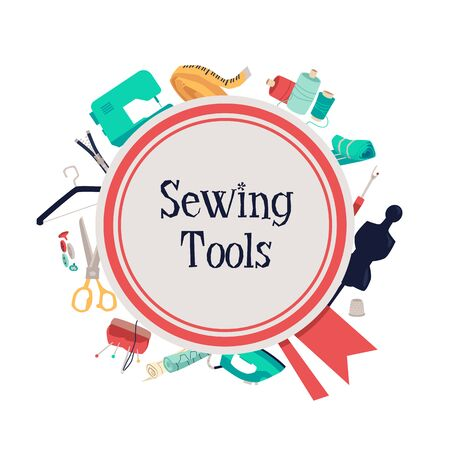 Sewing tools poster with tailors equipment kit on background - fashion designers sewing machine, thread and needles, pin cushion an other objects. Flat isolated vector illustration Ilustração