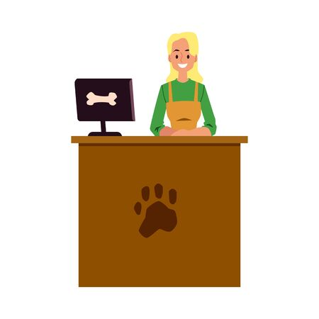 Pet shop cashier standing at cash register desk with paw print symbol - young woman at animal product store or veterinary clinic reception. Flat isolated vector illustration