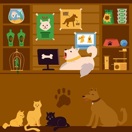 Pet shop interior with cartoon animals as sellers. Cute dog lying on register counter of store with pet care products on shelves - flat vector illustration