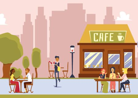Street cafe with outdoor seating - cartoon waiter serving drinks to women customers sitting behind tables. Flat vector illustration of city restaurant exterior.