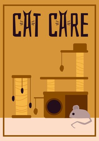 Cat care poster with scratching post tower and mouse toy - pet animal furniture ad. Brown and yellow claw scratch pole tree for cats - flat vector illustration. Ilustracja