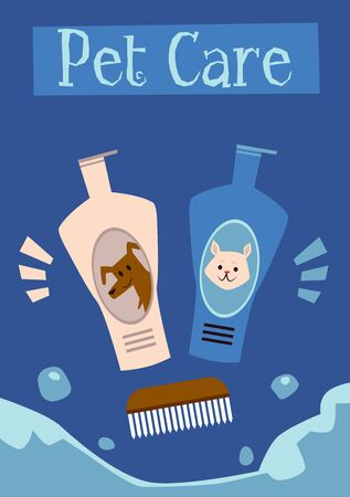 Pet care poster with shampoo bottles for dogs and cats and wooden comb for fur grooming - flat cartoon ad flyer for animal hygiene products. Vector illustration.