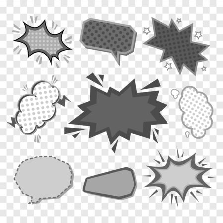Retro comic book speech clouds or explosion bubbles black and white cartoon vector illustrations set isolated on transparent background. Expression labels collection.