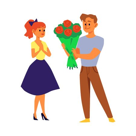 Cartoon couple with flower bouquet - young man giving rose flowers to woman isolated on white background. Romantic gift giving - flat vector illustration.