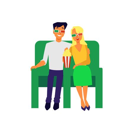 Couple dating in cinema theater and watching movie together hugging, flat vector illustration isolated on white background. Loving people joint leisure and recreation.