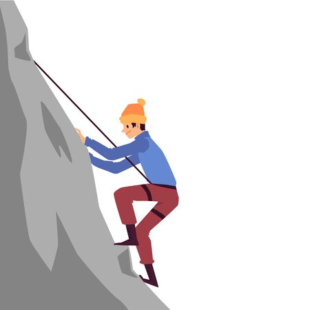 Mountaineering and climbing concept with cartoon character of climber conquering a peak, flat vector illustration isolated on white background. Goal achievement metaphor.