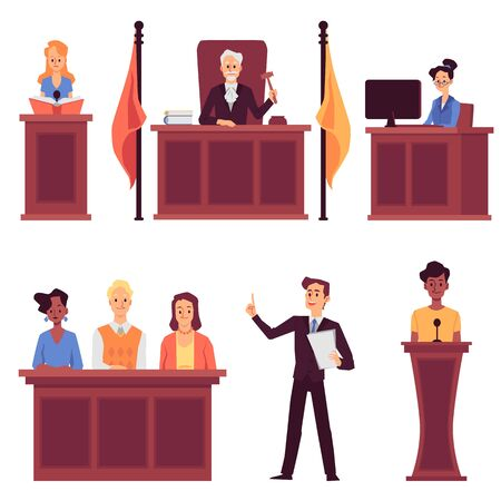 Court judge and law - set with people cartoon characters, flat vector illustration isolated on white background. Jail prison lawyers and jury images collection. Illustration