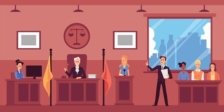 Judicial system concept with lawyer interrogating witnesses in courtroom, flat vector illustration. Trial session interior background with jury people cartoon characters.