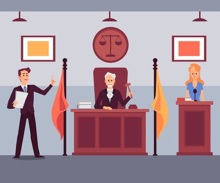 Courthouse scene with judge listening to attorney lawyer speech, flat cartoon vector illustration on courtroom interior background. Crime evidence and investigation. Ilustração