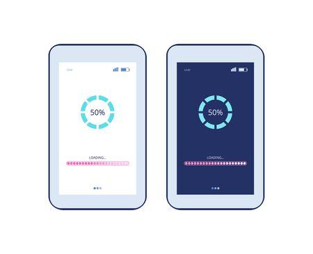 Écran du téléphone avec processus de chargement de l'application et barre de progression - deux écrans de tablette ou de smartphone avec interface en mode clair et sombre. Page de mise à jour du logiciel - illustration vectorielle isolée.