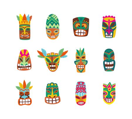 Colorful tiki mask set isolated on white background - hand drawn traditional Hawaiian wooden masks with painted human faces. Flat vector illustration.