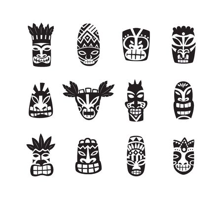 Black and white tiki mask drawing icon set isolated on white background - Hawaiian and Polynesian culture totem heads with painted ornaments, flat vector illustration