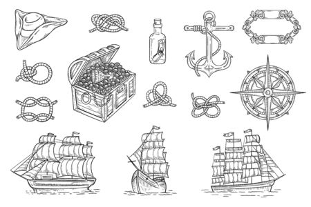 Vintage pirate ship and treasure hunt drawing set - hand drawn sea themed objects. Rope knots, compass, anchor and other nautical symbols - isolated vector illustration.