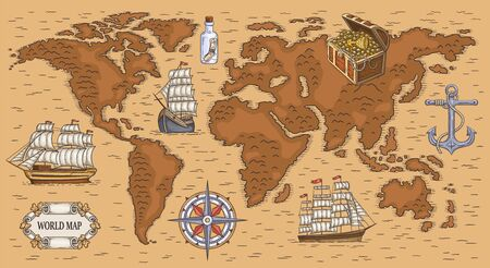 Ancient cartoon world map with sea ships, buried gold treasure and nautical symbols. Brown nautical cartography background - flat vector illustration. Zdjęcie Seryjne - 137968585