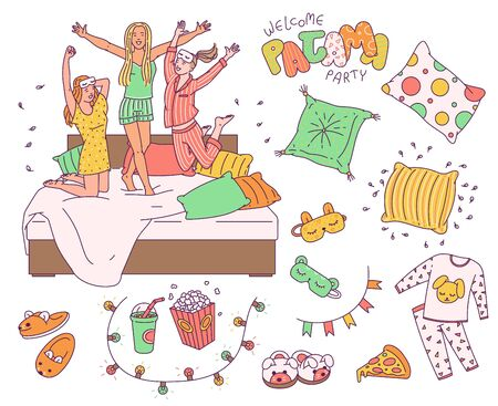 Pajama slumber party drawing set - cute sleepover objects and girl friends in pajamas jumping on the bed. Isolated flat vector illustration collection. Vector Illustration