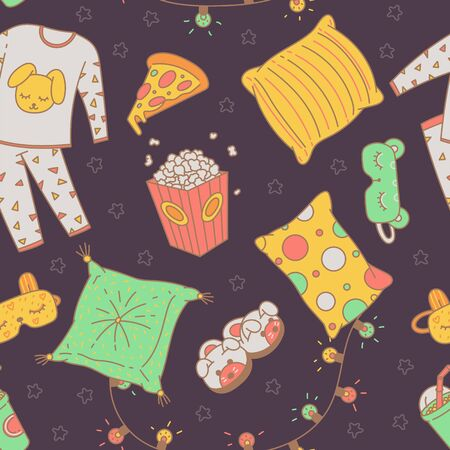 Seamless pattern with night sleeping clothing and pajama evening items, vector illustration in sketch doodle style. Endless texture on topic of sleepover party. Ilustrace