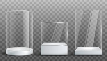 Empty glass display exhibition cases set, realistic vector illustration isolated on transparent background. Various shapes of clear showcases with white pedestal.