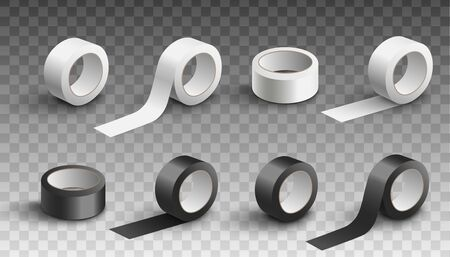 Set of scotch adhesive tapes black and white rolls in various angles, realistic vector illustration isolated on transparent background. Packing sticky band mockup.