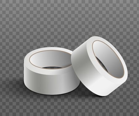 White blank scotch adhesive tape or medical sticky bandage mockup, realistic vector illustration isolated on transparent background. Template for packaging sticky band. Ilustração