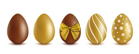 Set of chocolate eggs - cocoa, gold plated and tied with bow, realistic vector mockup illustration isolated on white background. Easter sweet gift and decoration template.