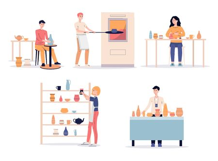 Cartoon people in pottery studio - isolated set of clay ceramic vase and pot crockery making process. Potter wheel, oven, exhibition shelf and others - flat vector illustration.
