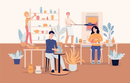 Diverse people cartoon characters working at ceramic workshop interior background, flat vector illustration. Pottery courses and creative hobby banner concept.