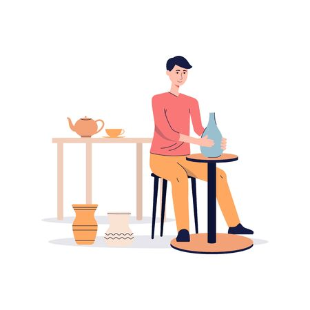 Ceramist or potter man character working on pottery wheel and making clay vase, flat vector illustration isolated on white background. Crafting and creative occupation.