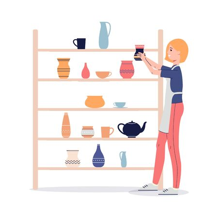 Woman cartoon character sets ceramic utensils in workshop or pottery store, flat vector illustration isolated on white background. Handmade and crafting concept.