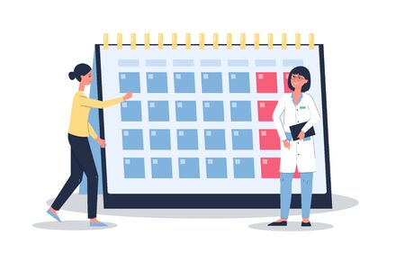 Female menstruation cycle calendar - cartoon woman and doctor standing near monthly spread and looking at period or climacteric schedule. Flat isolated vector illustration