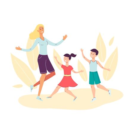 Mother with children cartoon characters dancing and jumping for joy, flat vector illustration isolated on white background. Family joint holiday celebration. Иллюстрация