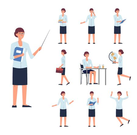 Woman - school or college teacher, cartoon character set in poses and actions, flat vector illustration isolated on white background. Personage with classroom items. Ilustracja