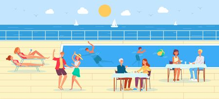 Cruise ship deck with people cartoon characters relaxing by pool, flat vector illustration. Ocean international vacation cruise and summer journey background.