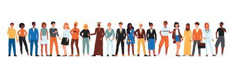Comunità diversificata di persone in fila - gruppo isolato di uomini e donne dei cartoni animati provenienti da diversi paesi. Illustrazione vettoriale piatto su sfondo bianco. Vettoriali