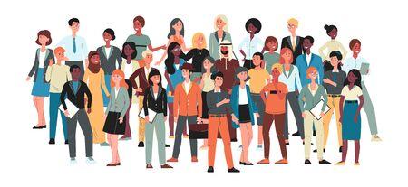 Multiculturele gemeenschap - grote menigte mensen die samen staan. Internationale diverse groep mannen en vrouwen geïsoleerd op een witte achtergrond - platte cartoon vectorillustratie. Vector Illustratie
