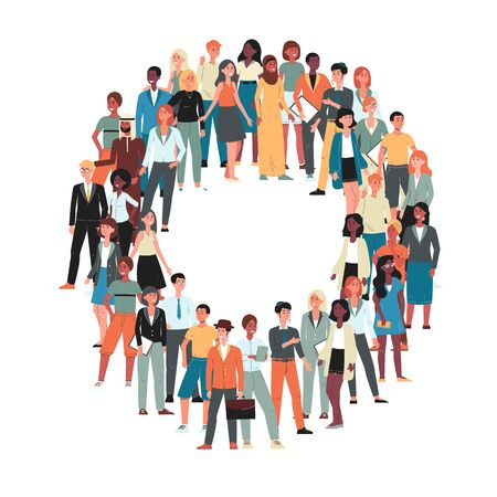 Multicultural and multiethnic crowd of people cartoon characters flat vector illustration isolated on white background. Human diversity and racial equality concept.  イラスト・ベクター素材