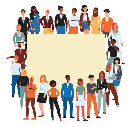 Colorful crowd of diverse nations and gender people cartoon characters banner, flat vector illustration isolated on white background. Multicultural society and community.  イラスト・ベクター素材