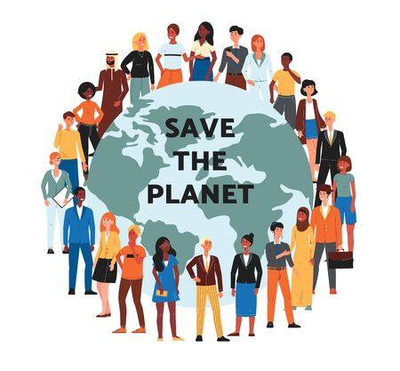 Save the planet banner with globe and multi ethnic people cartoon characters, flat vector illustration isolated on white background. Ecology and environment saving.