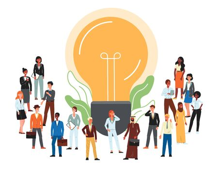 Cartoon people standing near lightbulb icon - creative global business community and diversity banner with crowd of men and women in office clothes. Flat vector illustration