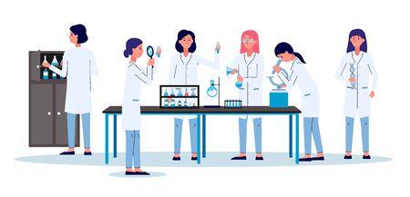 Laboratoire scientifique avec des personnages de dessins animés de femmes, des employés de laboratoire ou des recherches - illustration vectorielle plane isolée sur fond. Expérience médicale ou chimiste.