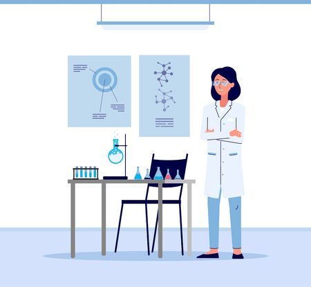 Cartoon scientist woman in white lab coat standing in science laboratory next to table with chemistry equipment. Isolated flat vector illustration on white background.
