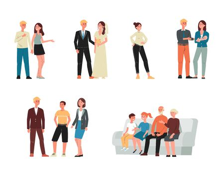 Set of women and men cartoon characters - family members at different ages, flat vector illustration isolated on white background. Stages of family concept.