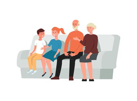 Multi-generation family - grandparents and grandchildren cartoon characters posing sitting on sofa, flat vector illustration isolated on white background.