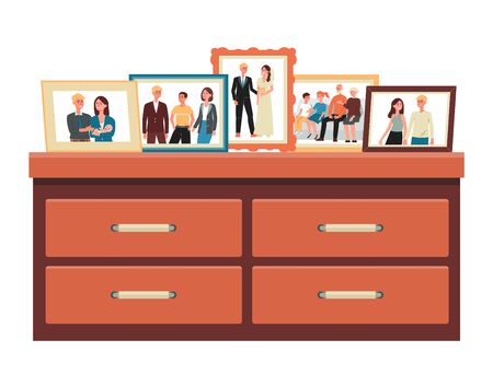 Family photos in frames standing on commode, flat cartoon vector illustration isolated on white background. Family stages from childhood, parenting to old age. Иллюстрация