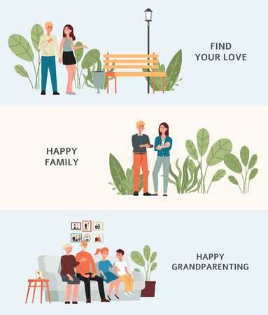 Stages of building family - isolated set of cartoon characters meeting, having a baby and becoming grandparents. People in love growing old - flat vector illustration.