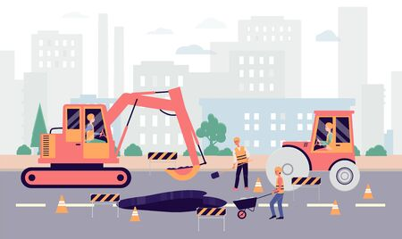 Cartoon people fixing hole on highway - industrial city roadwork banner with repair equipment and heavy machinery working on pothole. Flat vector illustration.