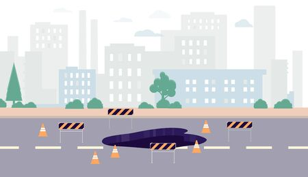 Cityscape with road under construction marked with repair road signs, flat vector illustration. City landscape background with hole in asphalt covering of highway.