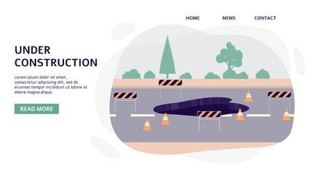 Road under construction and highway repair works banner template, flat vector illustration isolated on white background. Road services and city environment improvement.