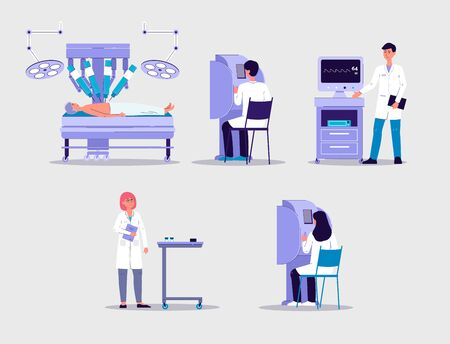 Robot-assisted surgery set with people scientists or surgeons cartoon characters, flat vector illustration isolated on background. Robotic surgery scenes collection.