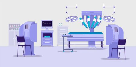 Future technologies clinic with robotic medical equipment, flat vector illustration. Fantasy robotic surgery background - advanced technique in healthcare. Illusztráció